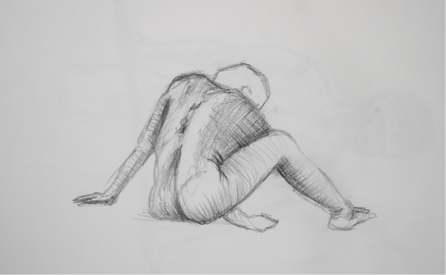 life drawing sketch of man sat on floor