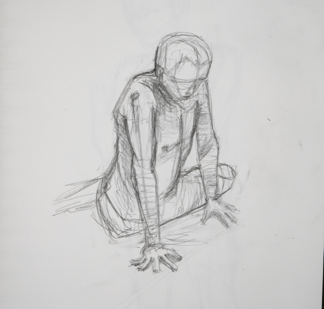 life drawing sketch of man kneeling on floor