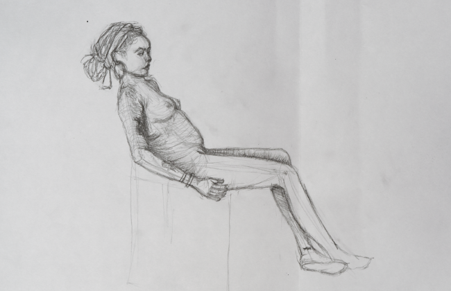 life drawing sketch of mixed race girl sat on chair