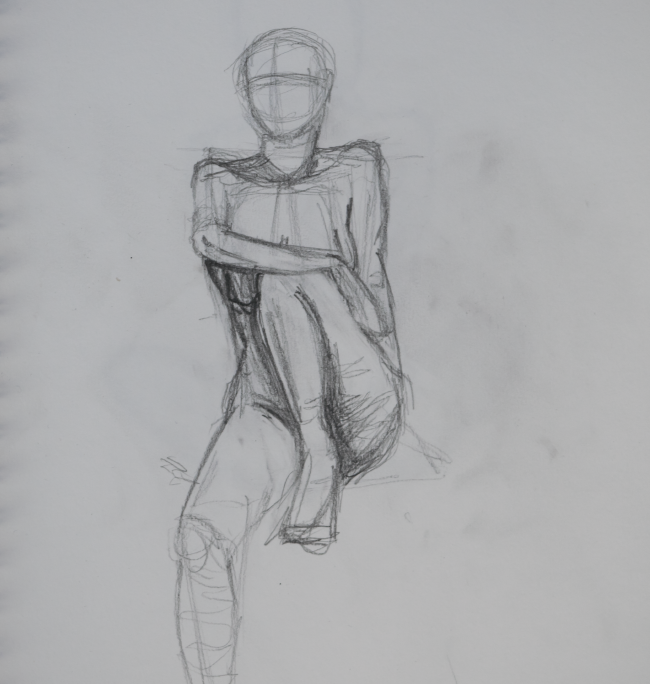Life drawing class sketch of woman sitting