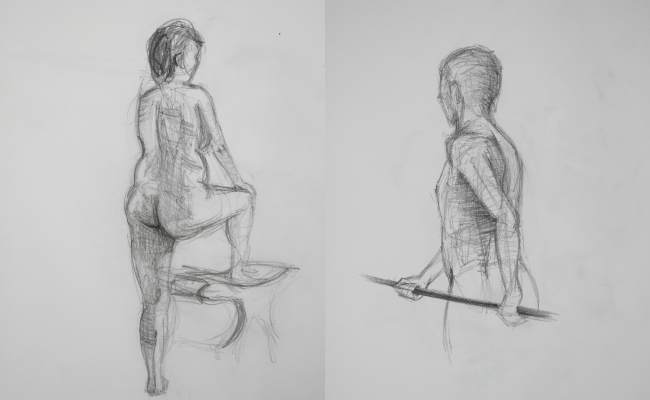 life drawing sketches of man and woman standing
