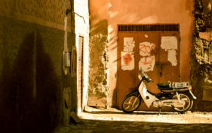 Motorbike on streets of Marrakech