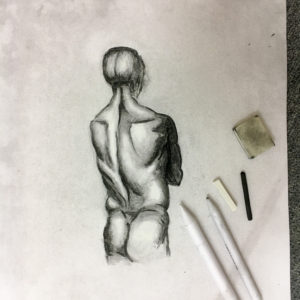 Charcoal Study of Man's back
